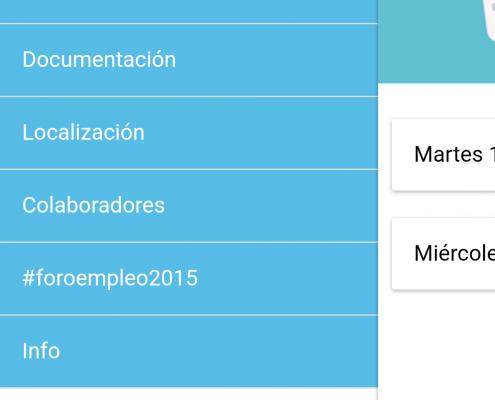 Menú Aplicación Foro Empleo 2015