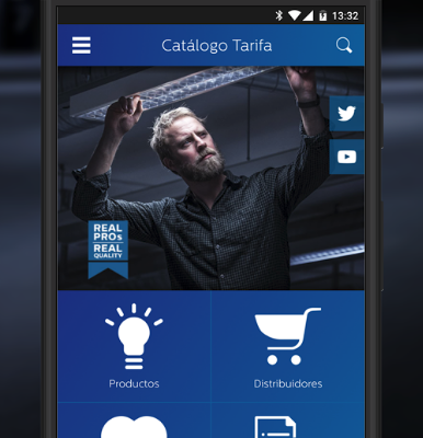 Inicio App catálogo Philips Lighting